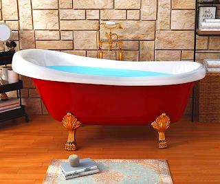 Red Clawfoot Bathtub