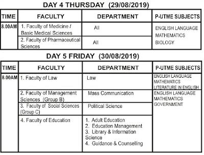 ESUT Post-UTME / DE Screening Time-Table Schedule 2019/2020