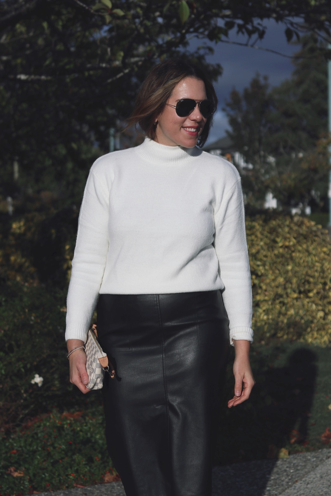 Le Chateau mock neck sweater and faux leather skirt outfit