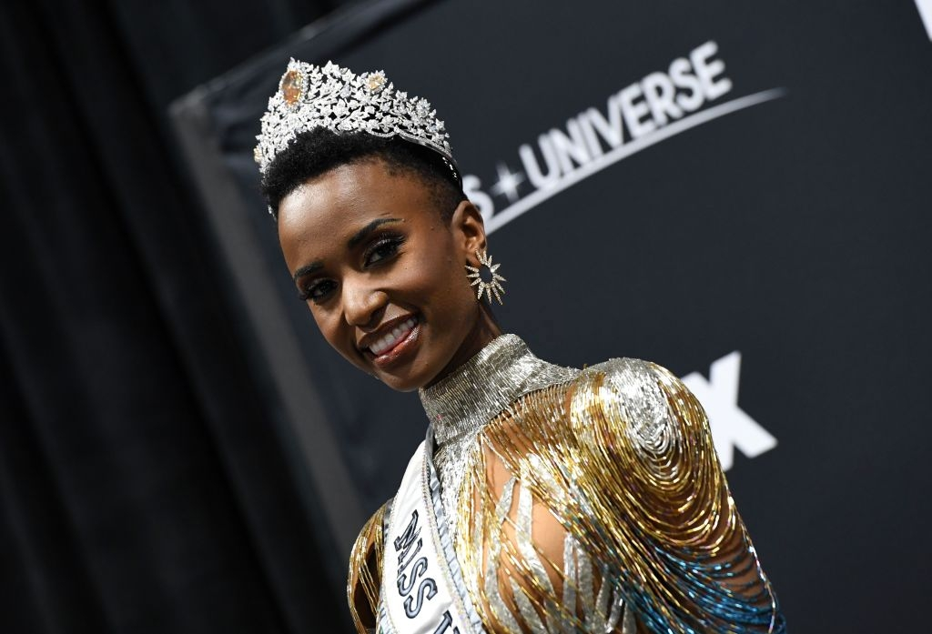 Miss Universe 2019 Zozibini Tunzi, of South Africa, just before she is crowned onstage appears in the evening wear competition at the 2019 Miss Universe Pageant at Tyler Perry Studios on December 08, 2019 in Atlanta, Georgia. (Photo by Paras Griffin/Getty Images)