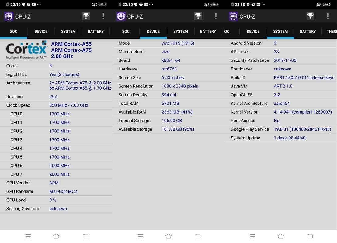 CPU-Z Vivo Y19