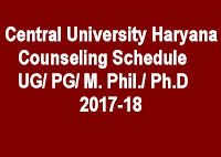 Counseling Schedule Haryana Central University UG/PG/M.Phil/ Ph.D 2017