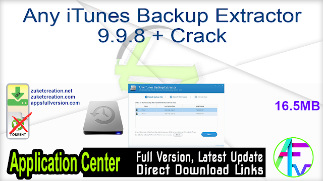 Any iTunes Backup Extractor 9.9.8 + Crack