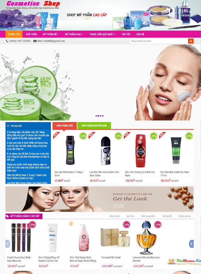 Cosmetic Shop Template bán hàng mỹ phẩm online cho Blogspot