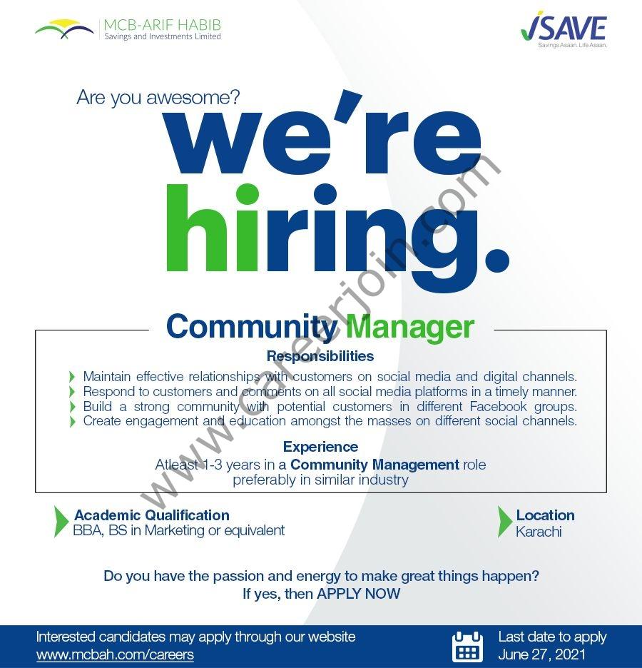 MCB Arif Habib Savings & Investments Jobs Community Manager