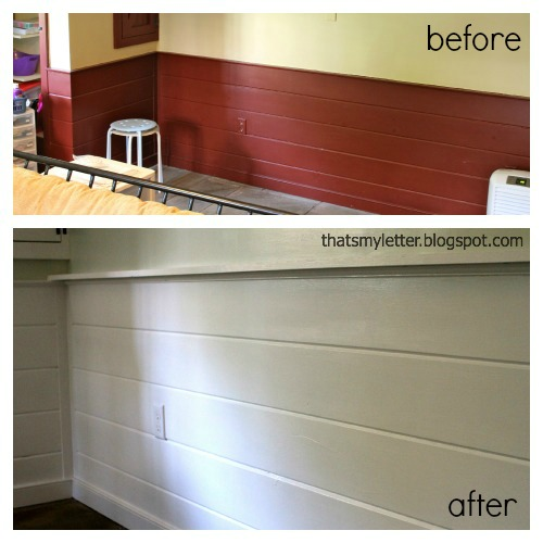 paneling from red before to white after