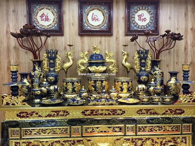 bộ đồ thờ cúng gốm sứ Bát Tràng cao cấp