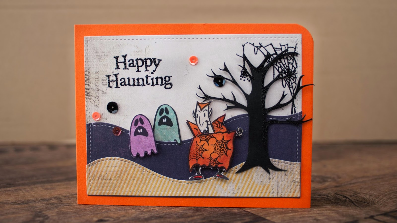 Halloween cards #1 2014 - scary vampire chasing ghosts card making tutorial using paper piecing and partial embossing