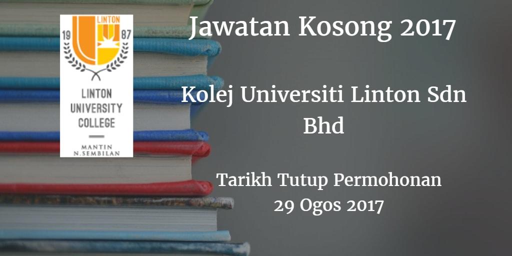 Jawatan Kosong Kolej Universiti Linton Sdn Bhd 29 Ogos 2017