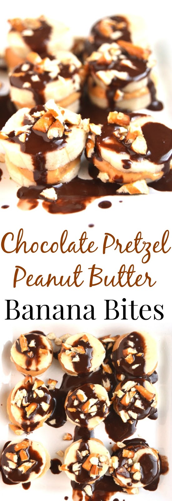 Chocolate Pretzel Peanut Butter Banana Bites are a simple 5 ingredient snack that takes 5 minutes to make! Enjoy frozen or regular. www.nutritionistreviews.com