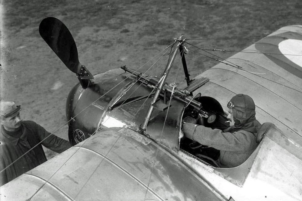 French pilot Jules Védrines in the cockpit of a Morane-Saulnier airplane in September 1915