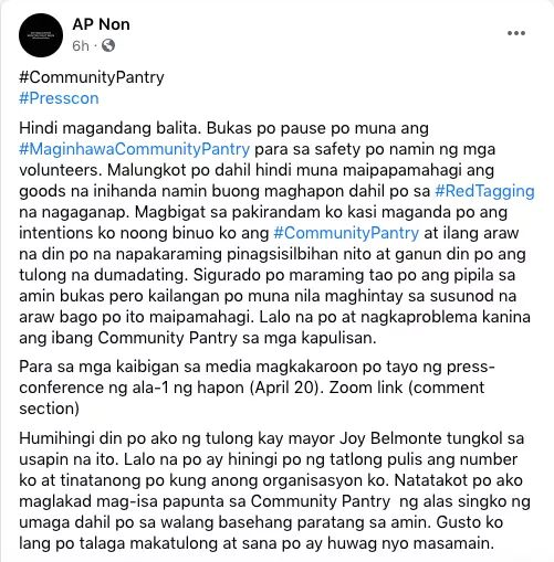 Maginhawa Community Pantry takes a break after it was red-tagged