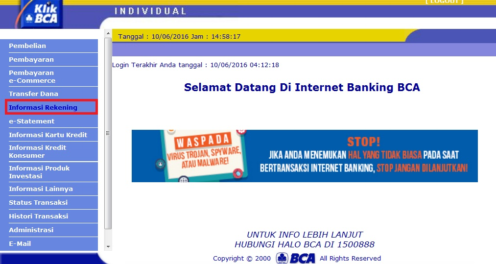 Cara Cek Saldo Bca Online Dengan Klikbca Internet Banking