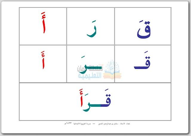 بطاقات تعليم تهجئة الحروف العربية - تأسيس
