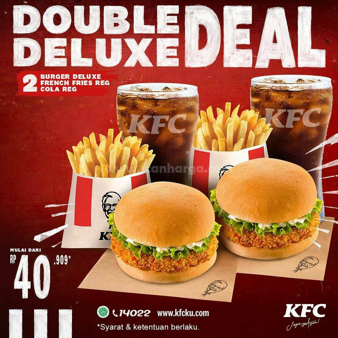 Promo KFC Double Deluxe Deal - 2 Burger + 2 Cola Reg mulai Rp 40.909