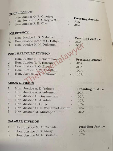 Court Of Appeal Issues Notice On 2020 Posting Of Justices [FULL LIST]