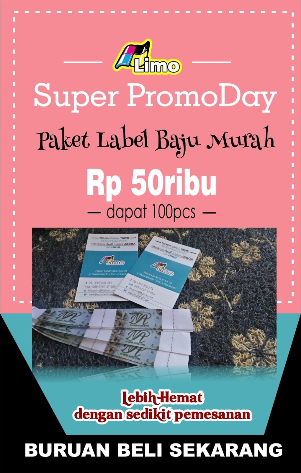 Limo Label cetak label baju label kaos label jilbab surabaya