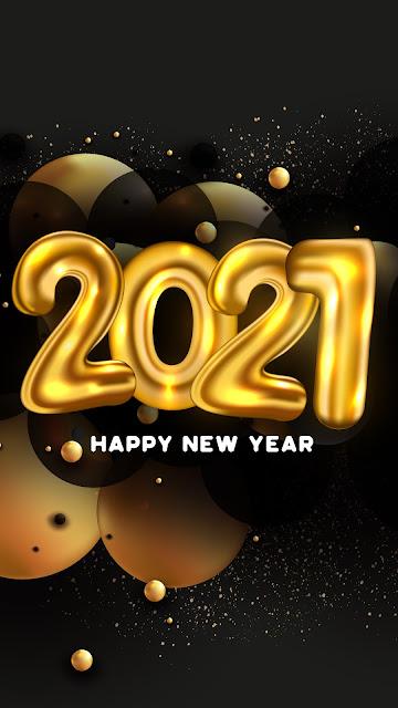 Wallpaper Happy New Year 2021 Golden balloons