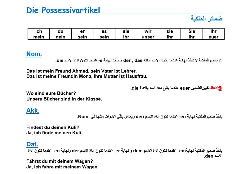 ضمائر الملكية في اللغة الألمانية مع DAT. و AKK