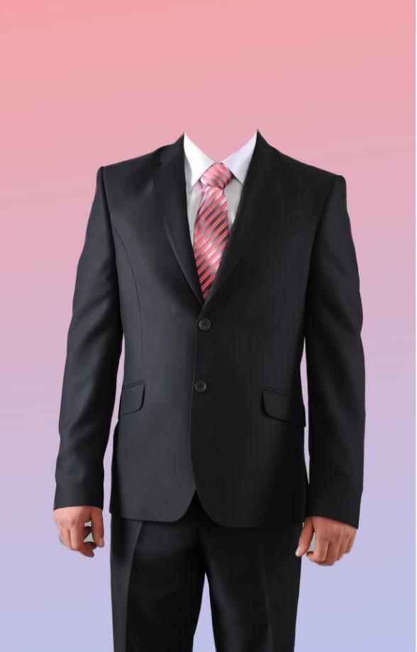 Download PSD men's suit uniform in black with a mauve background