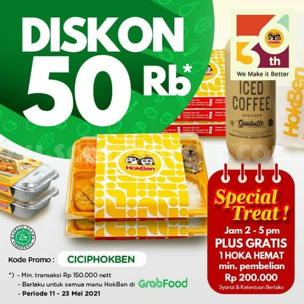 Promo HOKBEN GRABFOOD DISKON Rp50.000 + Gratis 1 Hoka Hemat