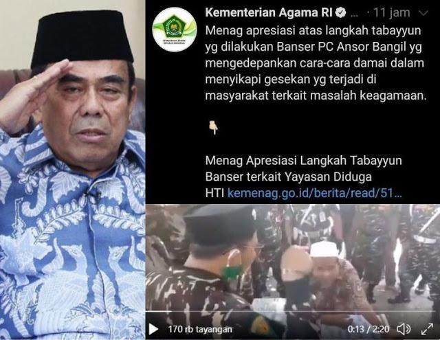 "Menteri Agama Berlatar Militer Tak Paham Istilah ""TABAYYUN"", Bikin Persoalan Berbangsa Makin Runyam"