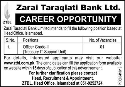 Zarai Taraqiati Bank Islamabad Jobs