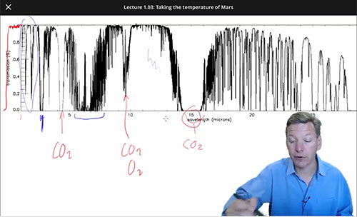 Mike Brown explains why we observe at wavelength that that passes through the atmosphere (Source: www.coursera.org)