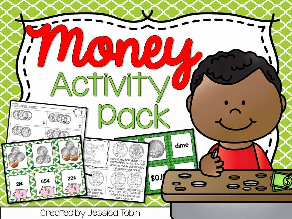 Money Activities for the primary classroom- money centers, money worksheets, and money interactive noteobook activities- all about coin worth and counting money