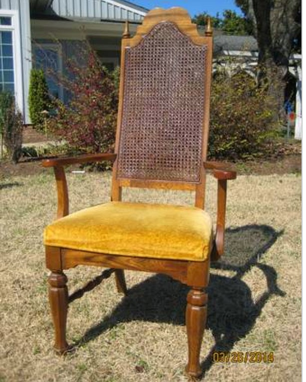 How To Replace Cane Back Chair With Fabric Cheap Folding Chairs Knock Off No Sew Dining Bless Er House Create Pottery Barn And Restoration Hardware Using 1970s Castoff