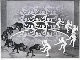 M.C, Escher, Η συνάντηση, Λιθογραφία 1944