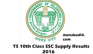 TS SSC 10th Class Supply Advanced Results 2016 Declared at www.bsetelangana.org