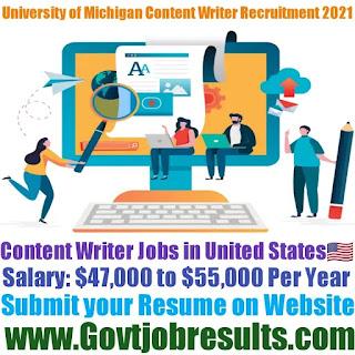 University of Michigan Content Writer Recruitment 2021-22