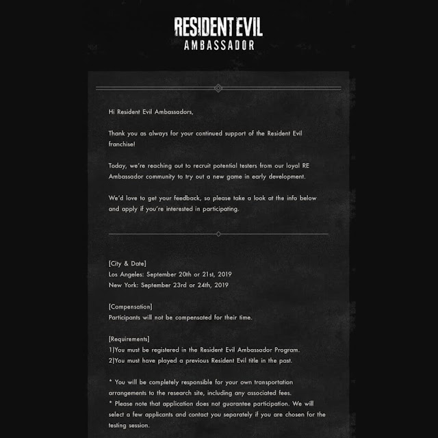 resident evil ambassador invitation email capcom u.s. tester new re game september 2019