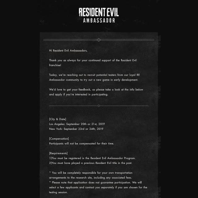 resident evil ambassador invitation email capcom u.s. tester new re game september 2019