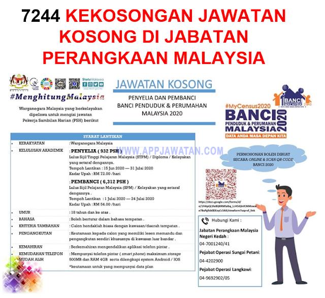 7244 Kekosongan Jawatan Kosong di Jabatan Perangkaan Malaysia