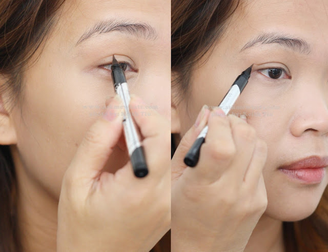 a photo on how to use Kate Double Eyelid Remake Liner