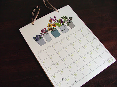 calendar showing plants in pots