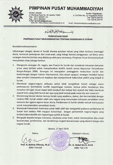 Pernyataan Sikap PP Muhammadiyah Tentang Kekerasan di Suriah