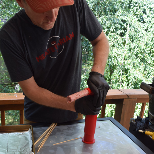 Pressing out a gyro kabob on the Easy Kabob