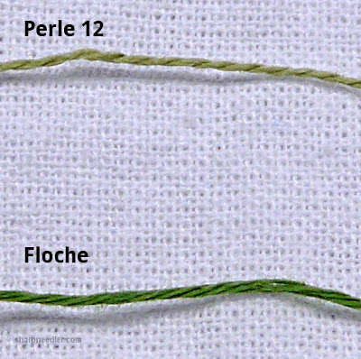 Comparing the sizes of floche and perlé