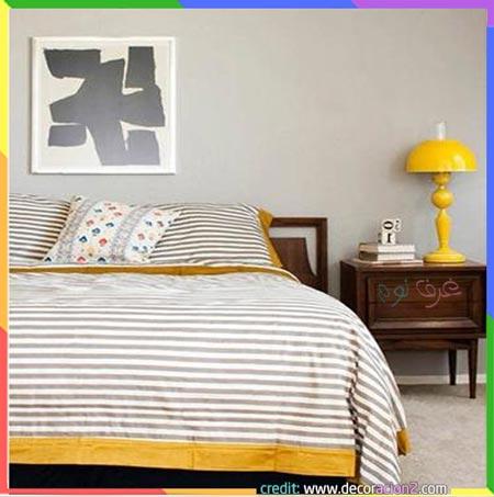 غرفة نوم رائعة بالرمادي الفاتح والأصفر