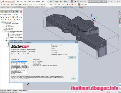 Download Mastercam 2020 v22.0.18285.10 for SolidWorks 2010-2019