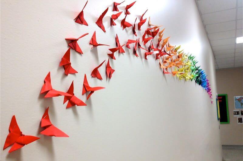 Hiasan Dinding Kamar dari Kertas Origami