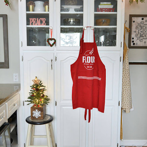 Red Apron Stenciled With Farmhouse Style