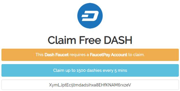 Cara mendapatkan faucet Dash gratis setiap 5 menit