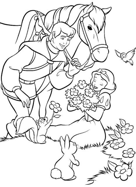 dibujo para colorear Blanca Nieves y príncipe con caballo