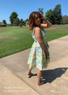 Butterick 6674 sundress paback view worn by Sharon of  Sharon Sews