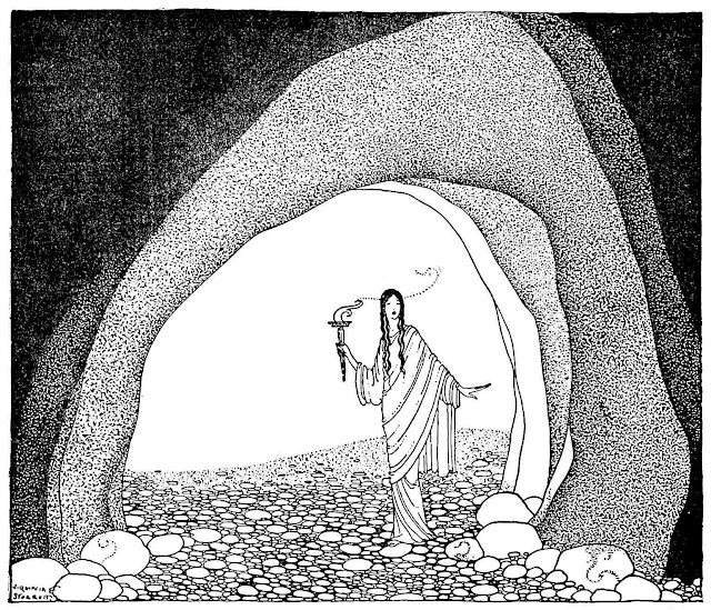 a Virginia Frances Sterrett 1921 illustration of a woman with torch looking into a cave