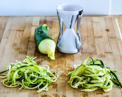 Three Ways to Make Noodles from Zucchini and Other Vegetables (and Recipes with Vegetable Noodles) found on KalynsKitchen.com
